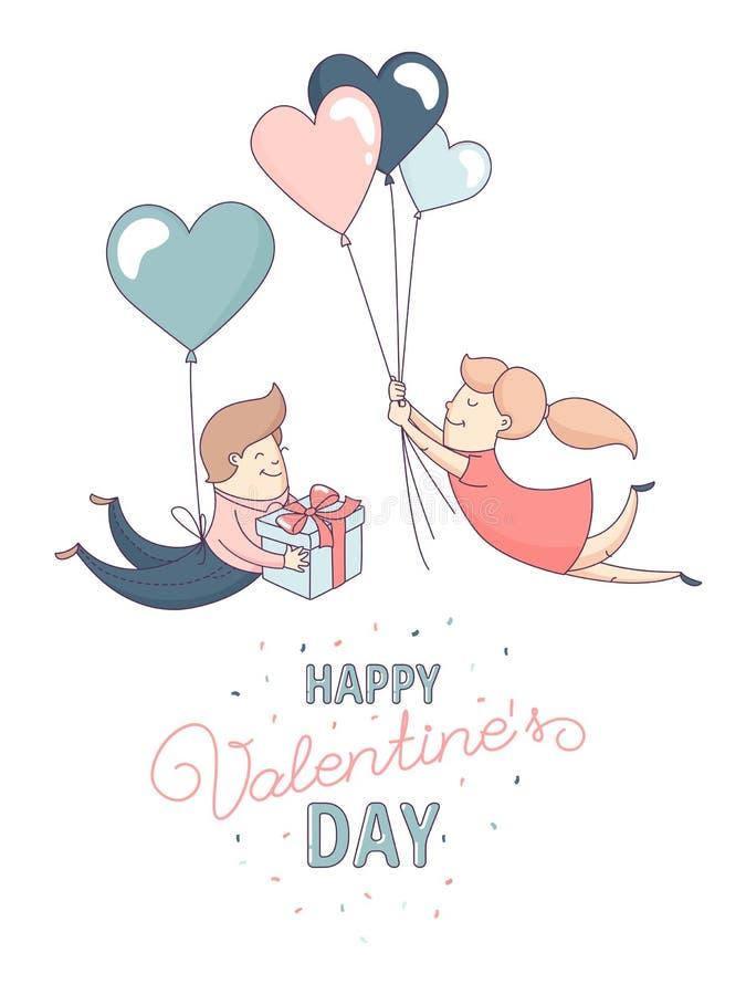 De gelukkige van de de Daggroet van Valentine ` s van het de kaartpaar ballons van het de liefde vliegende hart royalty-vrije illustratie