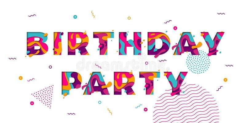 De gelukkige van de kaartconfettien van de Verjaardagsgroet van de kleurenlagen papercut multi vectortekst royalty-vrije illustratie