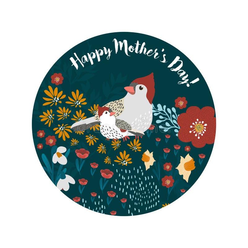 De gelukkige van de de groetkaart van de Moeder` s Dag leuke vogels witj vector illustratie