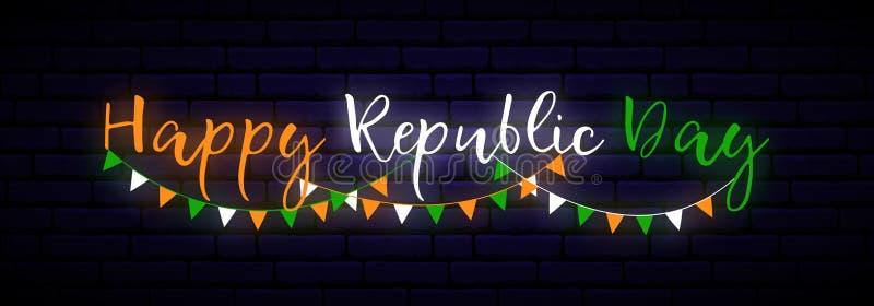 De gelukkige van het de Dagneon van de Republiek van India horizontale banner stock illustratie