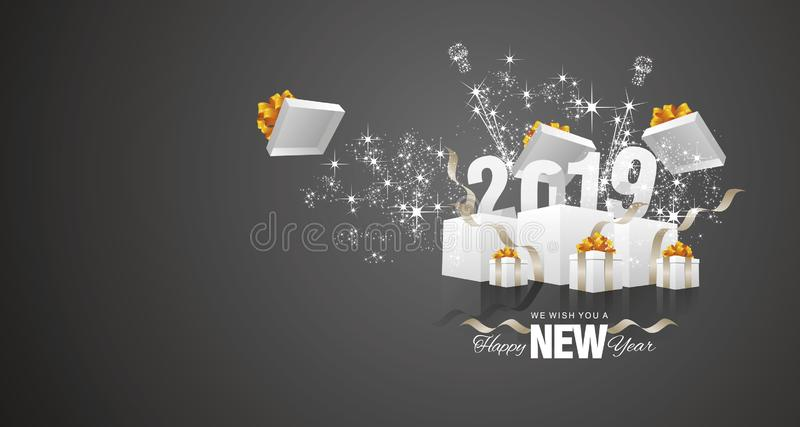 De gelukkige van het de doos zwarte landschap van het Nieuwjaar 2019 vuurwerk vector van de de groetkaart vector illustratie