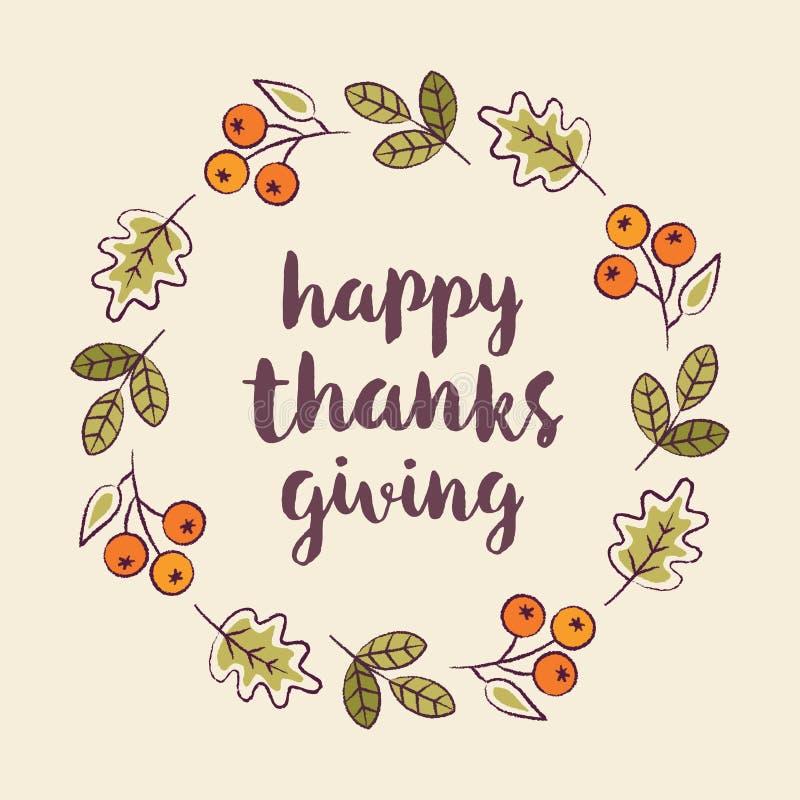 De gelukkige van het de kaartmalplaatje van de dankzeggingsgroet bladeren van de de herfstkroon vector illustratie