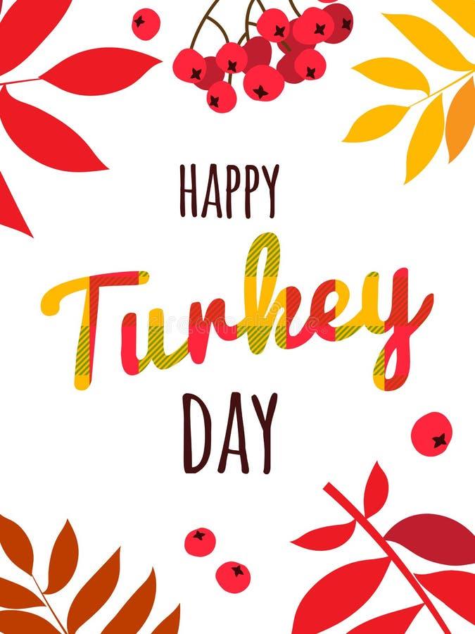 De gelukkige van letters voorziende affiche van de Thanksgiving daytypografie De bladerenbessen van de de herfstdaling royalty-vrije illustratie