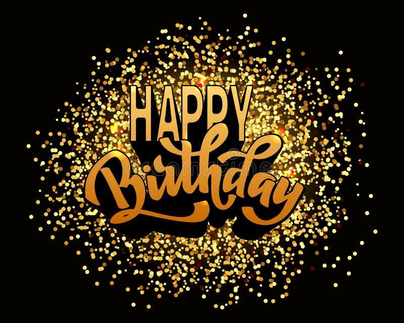 De gelukkige van letters voorziende tekst van de verjaardagshand, de kalligrafie van de borstelinkt, vector greating kaarttype on royalty-vrije illustratie