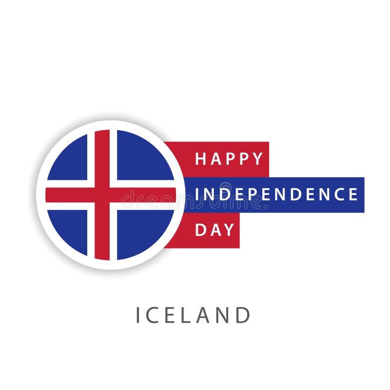 De gelukkige van de de Onafhankelijkheidsdag van IJsland Illustrator van het het Malplaatjeontwerp Vector royalty-vrije illustratie