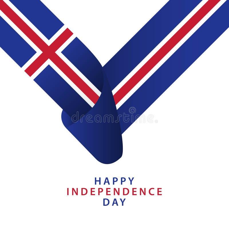De gelukkige van de de Onafhankelijkheidsdag van IJsland Illustrator van het het Malplaatjeontwerp Vector vector illustratie