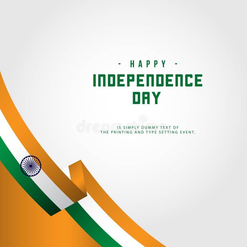 De gelukkige van de de Onafhankelijkheidsdag van India Illustratie van het het Malplaatjeontwerp Vector royalty-vrije illustratie