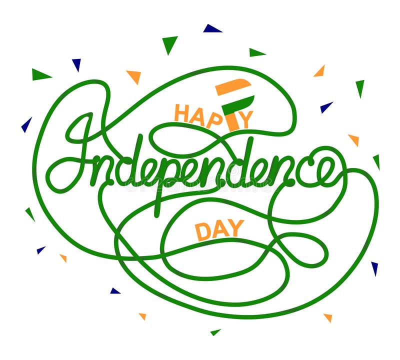 De gelukkige van de de Onafhankelijkheidsdag van India Illustratie van het het Malplaatjeontwerp Vector Vlagkleuren royalty-vrije illustratie