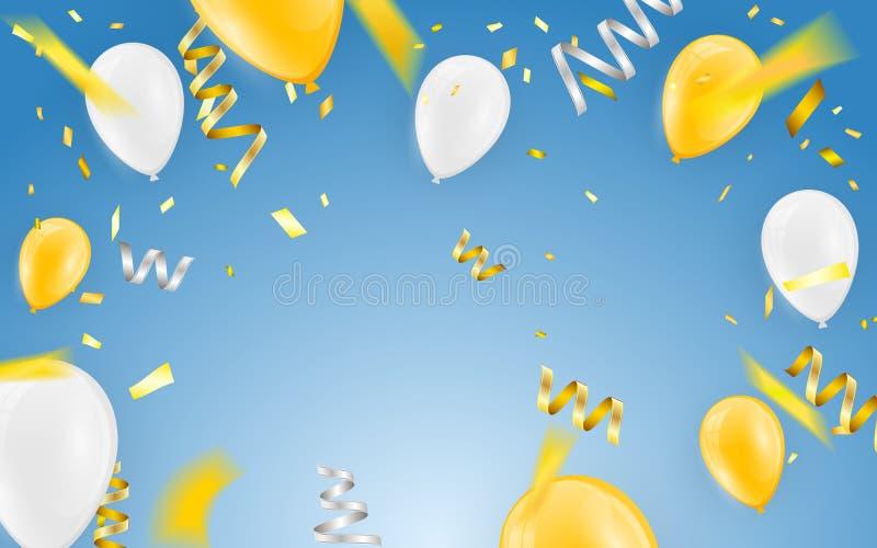 De gelukkige van de de partijbanner van de verjaardags vectorviering het de folieconfettien en wit Gouden en schitteren gouden ba stock illustratie