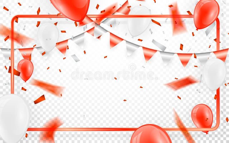 De gelukkige van de de partijbanner van de verjaardags vectorviering het de folieconfettien en wit Rode en schitteren rode ballon vector illustratie