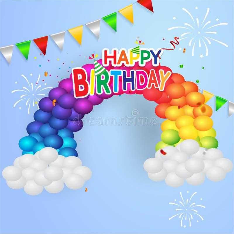 De gelukkige van de de partijbanner van de verjaardagsviering het de folieconfettien en wit Gouden en schitteren Kleurrijke ballo vector illustratie