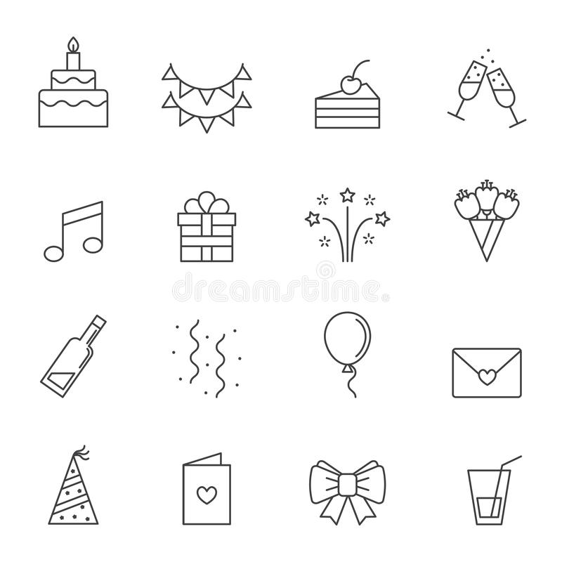 De gelukkige vector geplaatste pictogrammen van de verjaardagspartij Modern overzichts minimalistic ontwerp stock illustratie