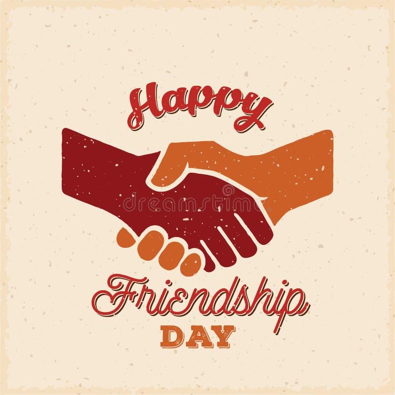 De gelukkige Vector Retro Kaart van de Vriendschapsdag, Affiche of een Achtergrondmalplaatje vector illustratie