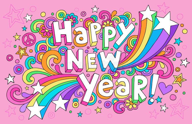 De gelukkige Vector van de Krabbels van het Notitieboekje van het Nieuwjaar Hip vector illustratie