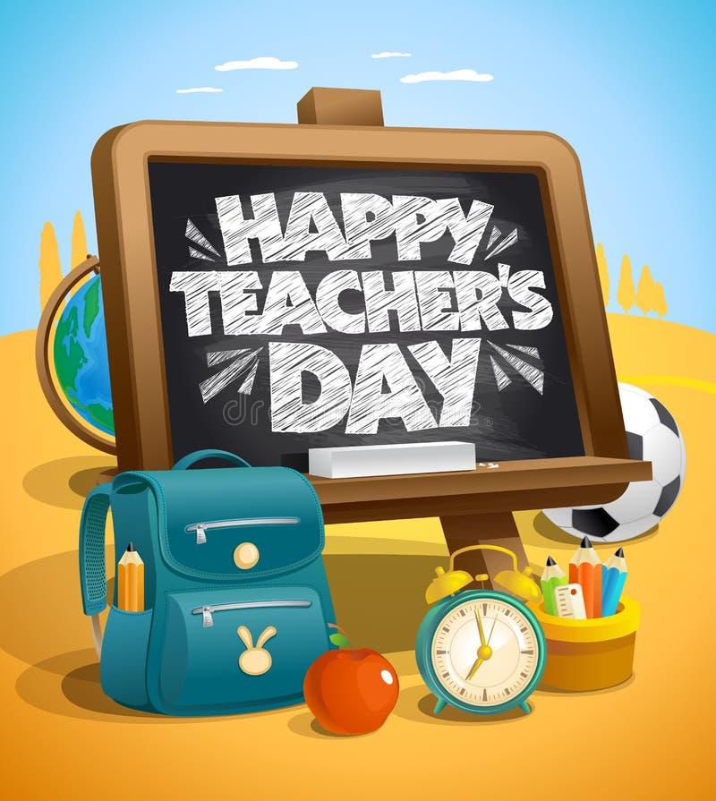 De gelukkige vector van de leraars` s dag