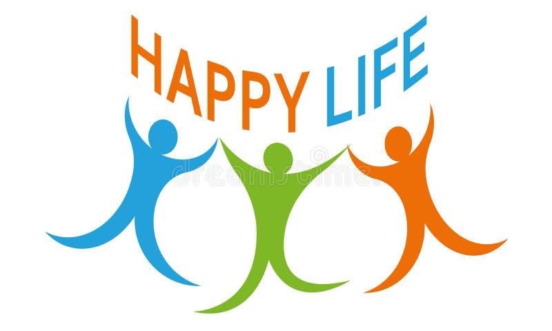 De gelukkige vector van Logo Template van de het Levens Communautaire Zorg royalty-vrije illustratie