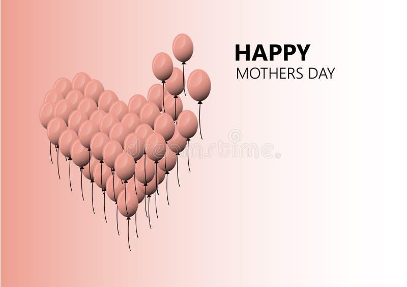 De gelukkige vectorachtergrond van de moedersdag r Liefde De dag van moeders Het Ontwerp van de groetkaart royalty-vrije illustratie