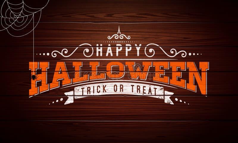 De gelukkige vectorillustratie van Halloween met typografie het van letters voorzien, spin en spinneweb op uitstekende houten ach royalty-vrije illustratie