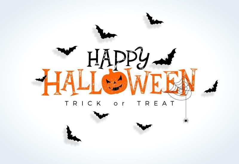 De gelukkige vectorillustratie van Halloween met typografie het van letters voorzien, het vliegen knuppels en spin op witte achte vector illustratie