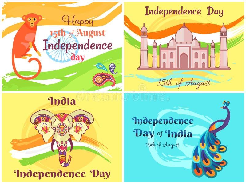 De gelukkige Vectorillustratie van India van de Onafhankelijkheidsdag vector illustratie