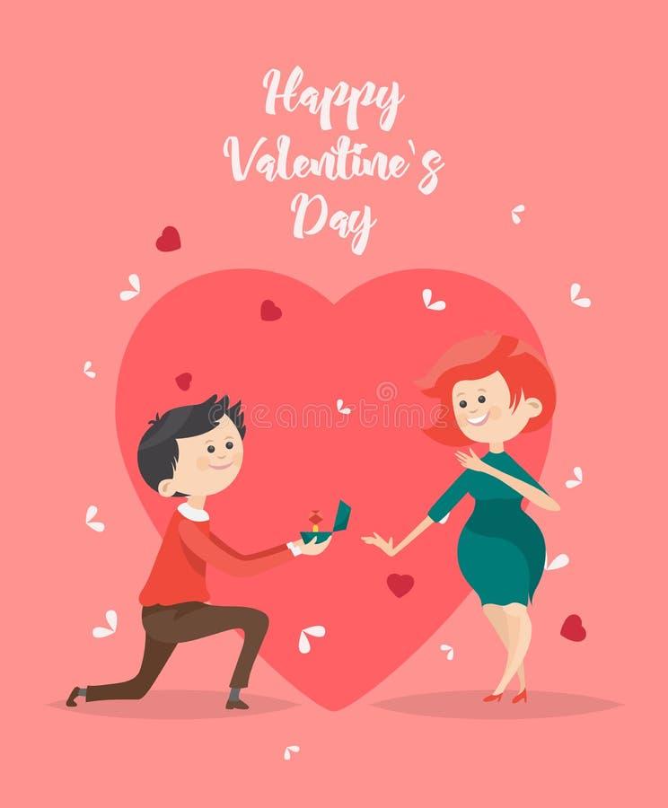 De gelukkige Vectorillustratie van de Valentijnskaartendag Groetkaart met jong Afrikaans Amerikaans paar in liefde De achtergrond stock illustratie