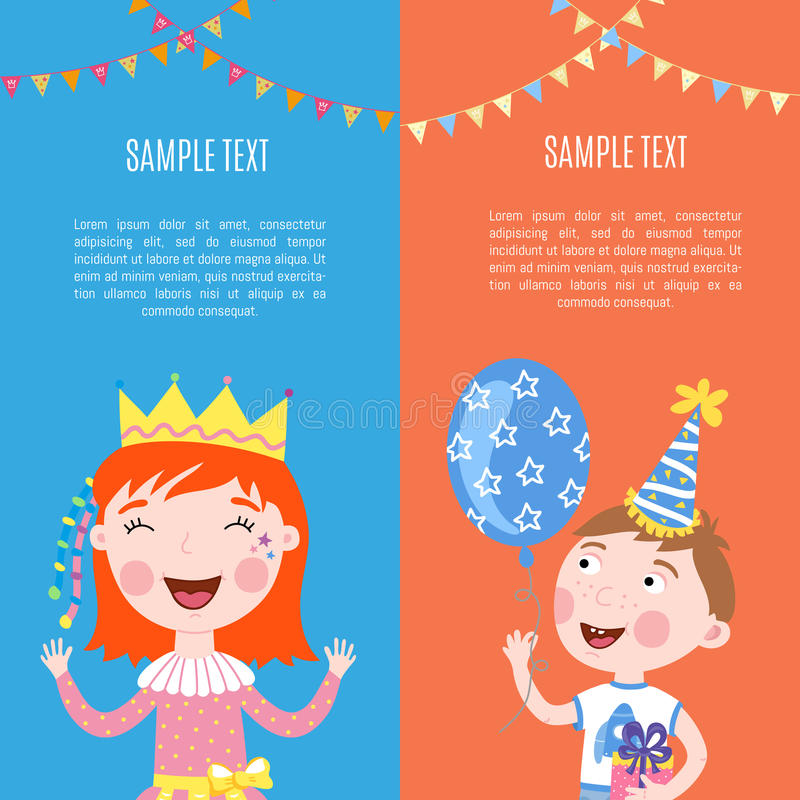 De gelukkige vectorillustratie van verjaardagsbanners royalty-vrije illustratie