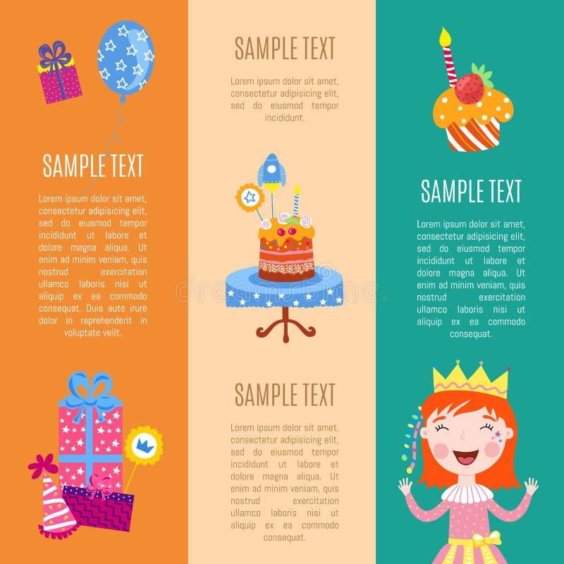 De gelukkige vectorillustratie van verjaardagsbanners vector illustratie