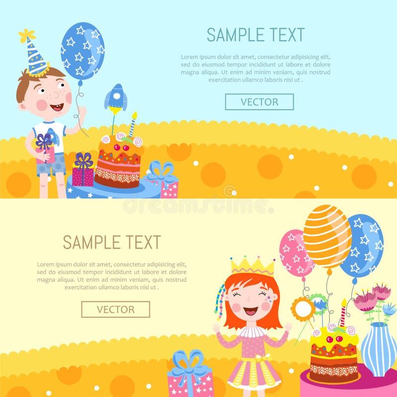 De gelukkige vectorillustratie van verjaardagsbanners stock illustratie