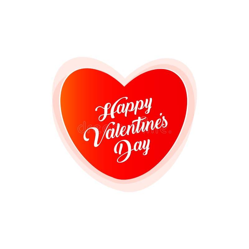 De gelukkige vectorprentbriefkaar van Valentine Day, liefdesymbool, rood hart met tekst op witte achtergrond stock illustratie