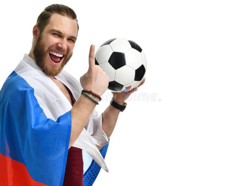 De gelukkige ventilator die van het mensenvoetbal Russische vlag dragen en toont nummer één het winnen vinger het glimlachen het  stock foto's