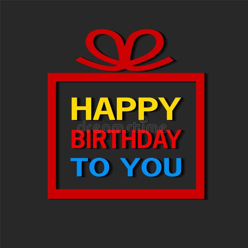 De gelukkige verjaardag aan u viert zwarte achtergrond, voorraadvector i royalty-vrije illustratie