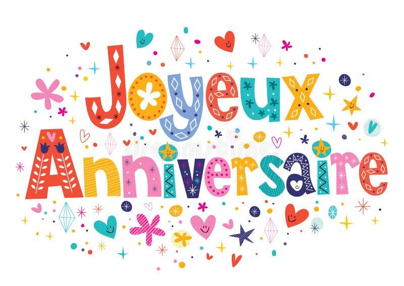 De Gelukkige Verjaardag van Joyeuxanniversaire in het Franse decoratieve van letters voorzien royalty-vrije illustratie