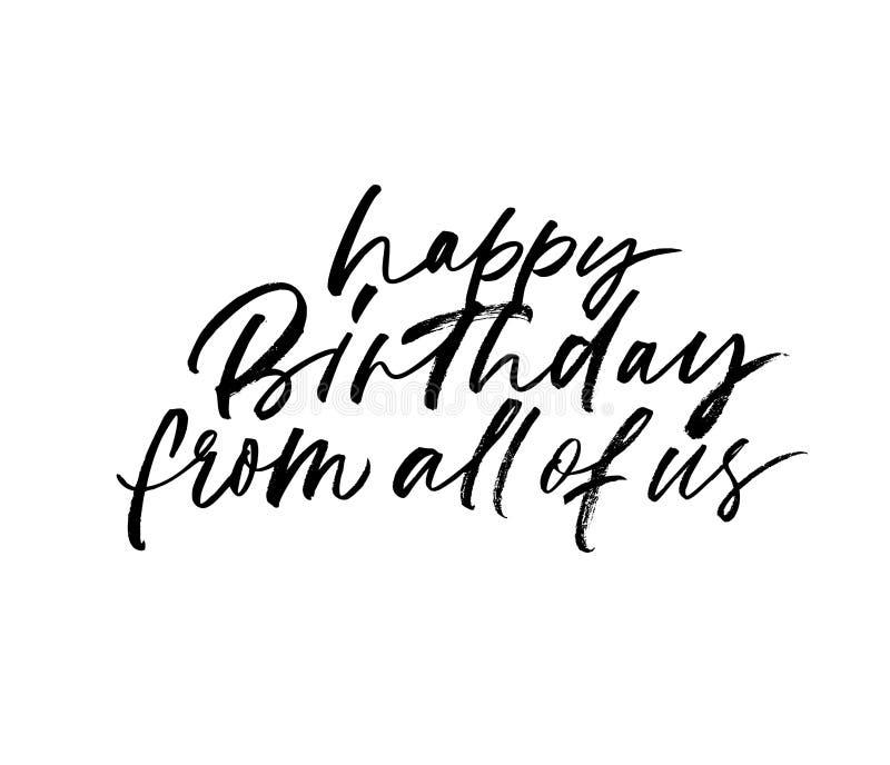 De gelukkige verjaardag van wij allemaal overhandigt het getrokken van letters voorzien Hand getrokken inktillustratie vector illustratie