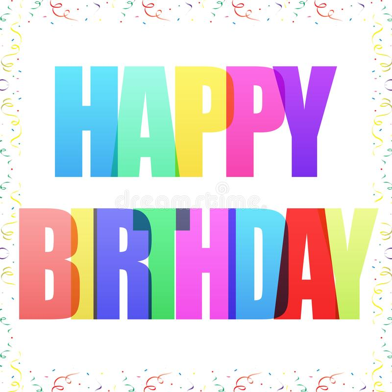 De gelukkige Verjaardag viert groetprentbriefkaar met confettien vector illustratie