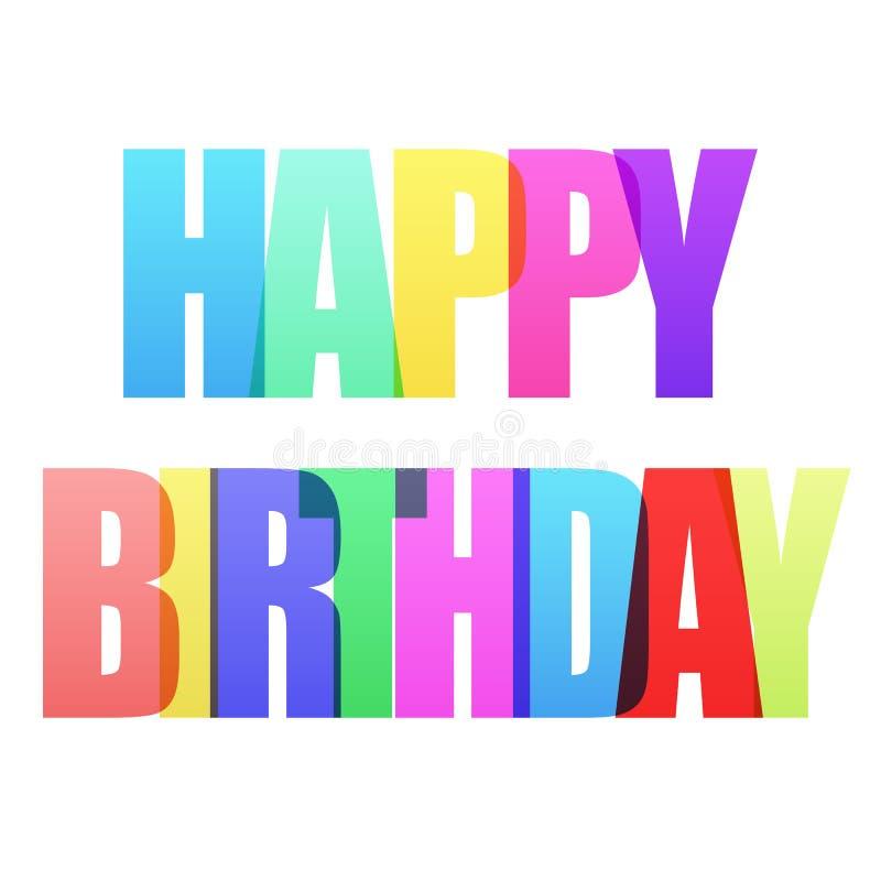 De gelukkige Verjaardag viert groetprentbriefkaar met witte achtergrond royalty-vrije illustratie