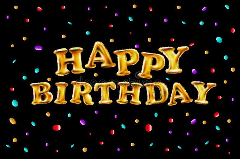 De gelukkige verjaardags vectorillustratie - Gouden folieconfettien en wit en schittert gouden ballons vector illustratie