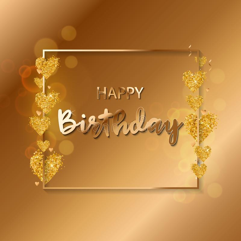 De gelukkige verjaardags vectorillustratie - Gouden folieconfettien en wit en schittert gouden ballons royalty-vrije illustratie