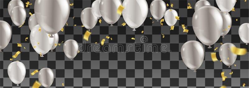 De gelukkige verjaardags vectorillustratie - zilveren folieconfettien en wit en schittert zilveren ballons royalty-vrije illustratie