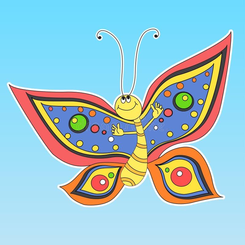 De gelukkige vlinder van het beeldverhaal royalty-vrije illustratie