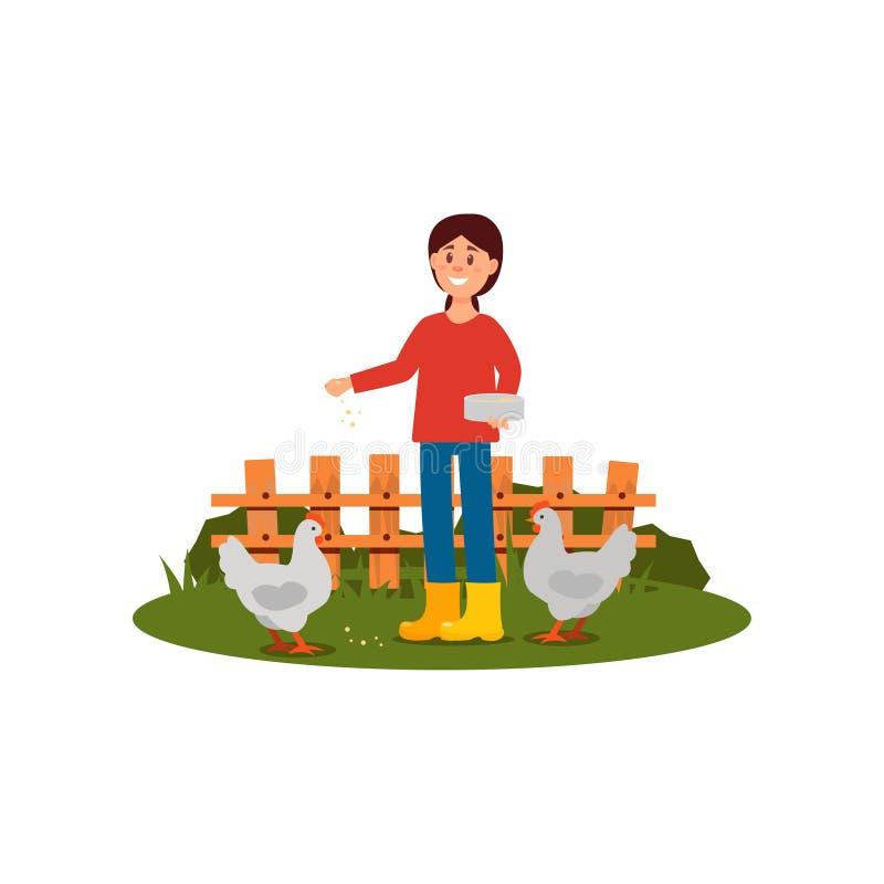 De gelukkige voedende kippen van de landbouwersvrouw Jong meisje in sweater, jeans en rubberlaarzen Houten omheining op achtergro stock illustratie
