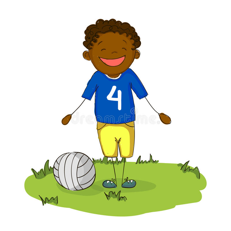 De gelukkige voetbalster die van de beeldverhaal jonge zwarte jongen met bal glimlachen vector illustratie