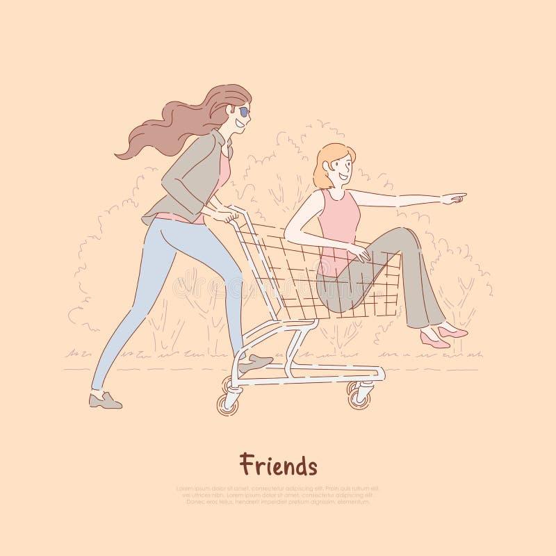De gelukkige vrienden die pret hebben, vrouwen berijden in supermarktkarretje, onbezorgd tijdverdrijf, vrije tijd, vrouwelijke vr stock illustratie