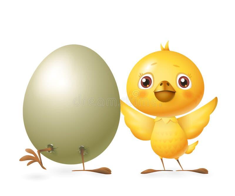 De gelukkige vrienden vieren de Lente - Uitgebroede ei en Kip - vectordieillustratie op witte achtergrond wordt geïsoleerd vector illustratie