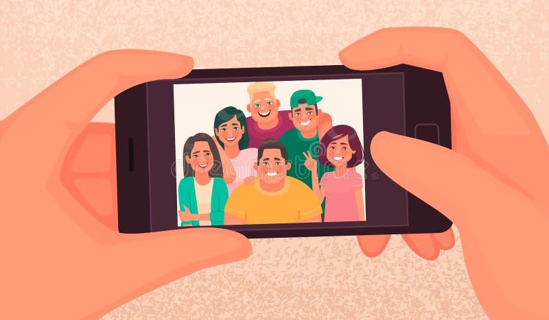 De gelukkige de vriendenkerels en meisjes nemen een selfie Foto van jongeren die op een smartphone worden gemaakt Vector illustra royalty-vrije illustratie