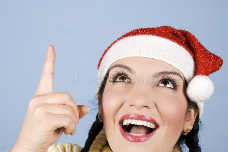 De gelukkige vrouw die van Kerstmis benadrukt stock afbeeldingen