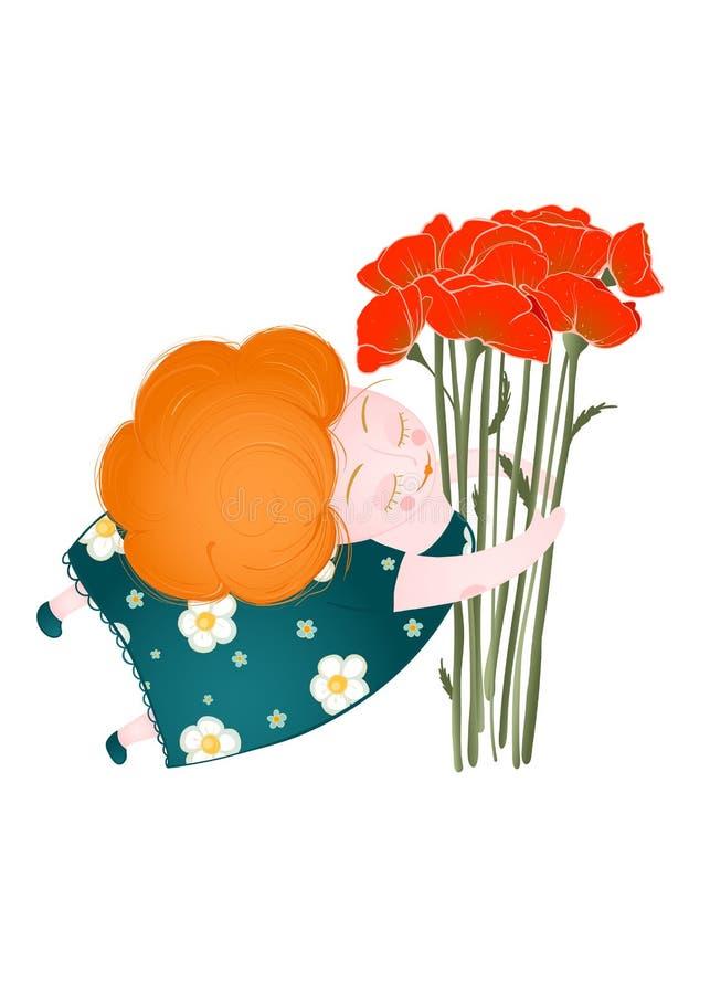 Download De Gelukkige Vrouw Van De MiddenLeeftijd Met Bloemen Vector Illustratie - Illustratie bestaande uit congratulate, bloemen: 29504703