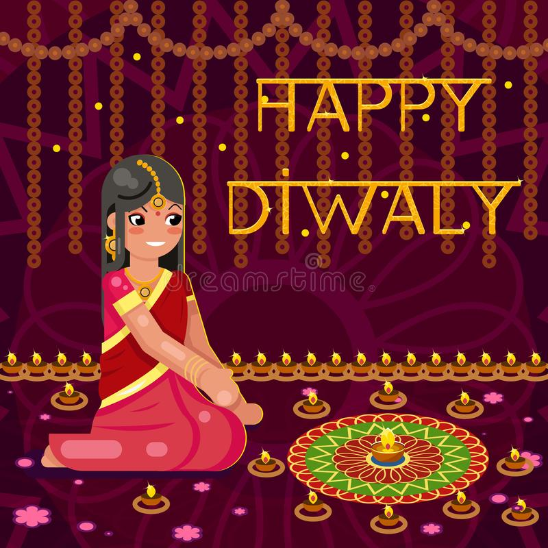 De gelukkige vrouw van het diwali leuke Indische meisje in inheemse traditionele kleren steekt vectorillustratie van het vierings royalty-vrije illustratie