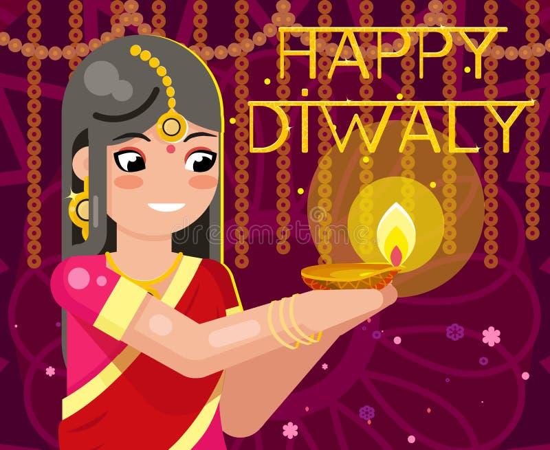 De gelukkige vrouw van het diwali leuke Indische meisje in inheemse traditionele kleren steekt vectorillustratie van het vierings stock illustratie