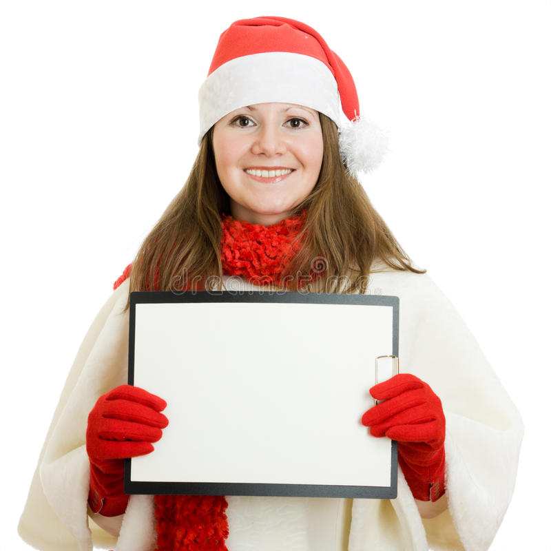 De gelukkige vrouw van Kerstmis met in hand tablet royalty-vrije stock afbeelding