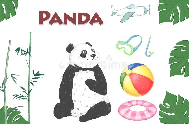 De gelukkige waterverf van de Verjaardagskaart draagt de Zomerachtergrond met geplaatste pandareis: bal, het duiken masker Leuk b royalty-vrije illustratie